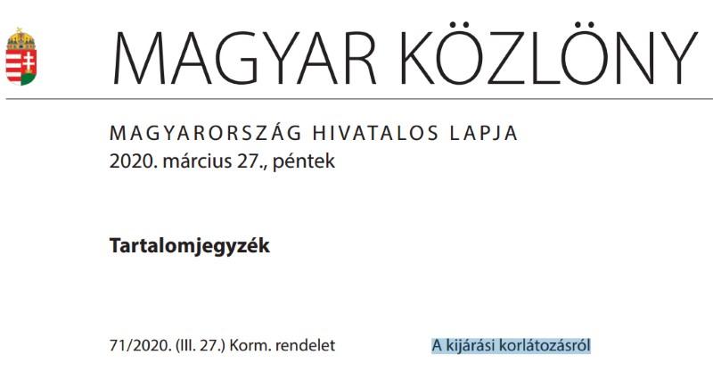 Magyar Közlöny A kijárás korlátozása